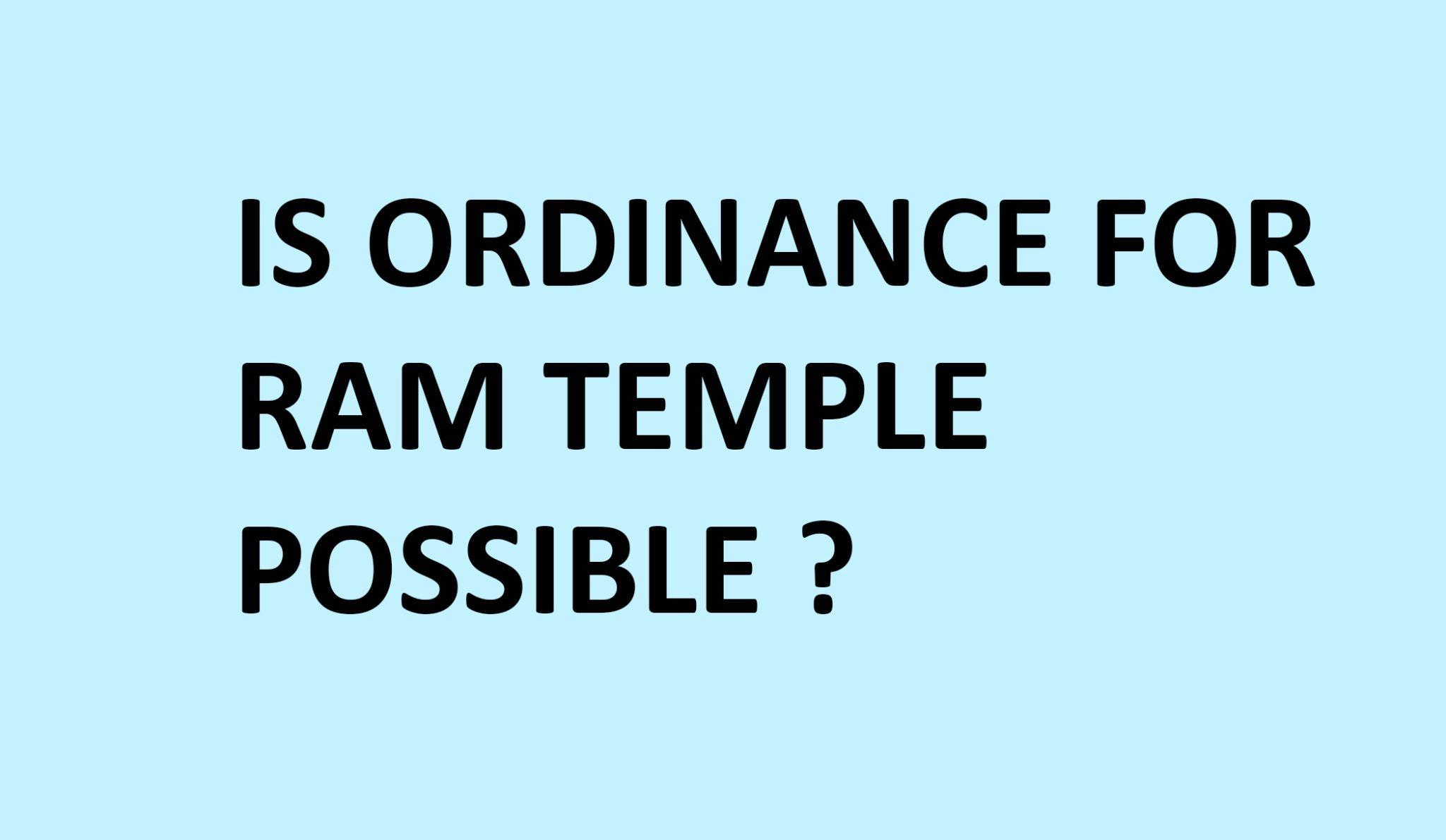 ordinance for ram temple
